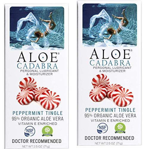Aloe Cadabra Flavored Personal Lubricant, Best Natural Lube Oral Gel for Her, Him & Couples, Peppermint, 2.5 oz (Pack of 2)