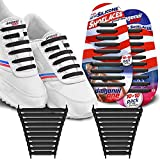 DIAGONAL ONE No Tie Shoelaces for Kids & Adults. The Elastic Silicone Shoe Laces to Replace Your Shoe Strings. 20 Slip On Tieless Flat Silicon Sneakers Laces (Black)
