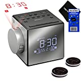 New & Improved - Sony Projector Dual Alarm Clock with Extendable Snooze, 5 Nature Sounds, AM/FM Radio, Built-in Calendar, Large LED Display & USB Port (Black) + 2 Sony Rplc. Batteries + HeroFiber