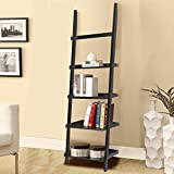 Product review for go2buy Modern Black Wood 5 Tier Leaning Ladder Shelf Bookcase Bookshelf 70 Inch Book DVD CD Display Storage Shelves Unit