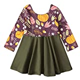 Toddler Baby Girl Thanksgiving Dress Outfit Long Sleeve Pumpkin Winter Fall Dresses Clothes (Plum&Olive,4-5T)