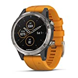 Garmin Fenix 5 Plus, Premium Multisport GPS Smartwatch, Features Color TOPO Maps, Heart Rate Monitoring, Music and Garmin Pay, Titanium with Orange