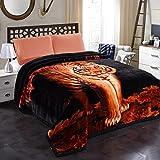 JML 10 Pounds Heavy Plush Soft Blankets for Winter, Korean Style Mink Velvet Fleece Blanket - 2 Ply A&B Printed Raschel Bed Blanket 85' x 93' (Tigers)