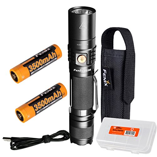 Fenix UC35 V2.0 2018 Upgrade 1000 Lumen Rechargeable Tactical Flashlight with Two 3500mAh Battery and Lumen Tactical Organizer