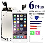 for iPhone 6 Plus Screen Replacement Full Assembly 5.5 inch [White] - MAFIX LCD Display Digitizer Touch Screen for Model A1522 A1524 with Proximity Sensor, Earpiece, Front Camera, Repair Tools