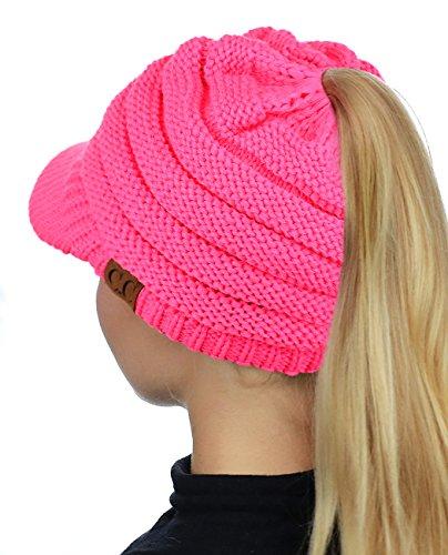 65ae87e143ac7 C.C BeanieTail Warm Knit Messy High Bun Ponytail Visor Beanie Cap