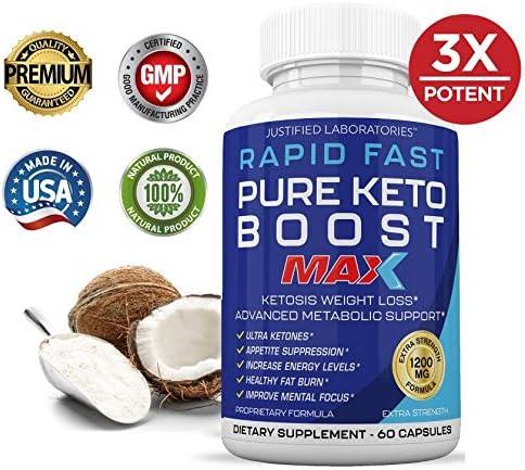 Rapid Fast Pure Keto Boost Max 1200MG Keto Pills Advanced BHB Ketogenic Supplement Exogenous Ketones Ketosis for Men Women 60 Capsules 3 Bottles) 90 Day Supply 4