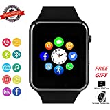 Smart Watch Phone Bluetooth Smartwatch with Camera Pedometer SMS SNS Sync SIM Card Slot TF Card Music Player Compatible with Android and iPhone (Partial Functions) for Men Women Kids Teens (Black)