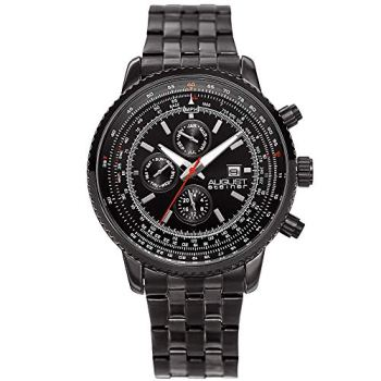 August Steiner Men's Multifunction Watch - 3 Subdials Month, Day, and GMT with Date Window On Stainless Steel Bracelet - AS8162