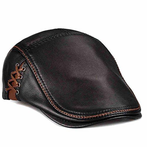 LETHMIK Unique Flat Cap Hunting Cowhide Leather Driver Ivy Cap Newsboy Hat Black