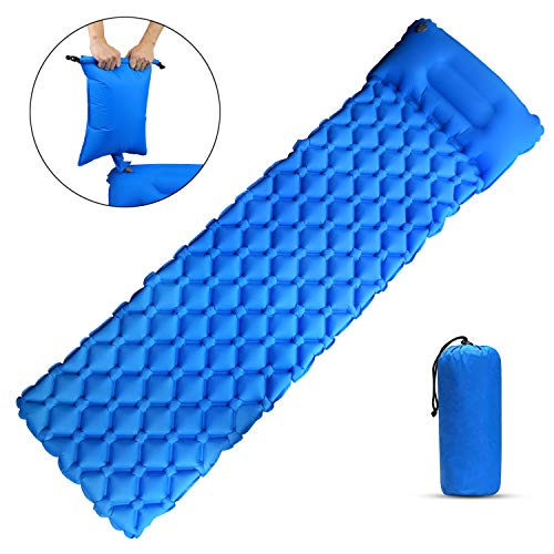 Portable Waterproof Sleeping Mat with Pillow, Inflating Pump Bag, Ultralight Inflatable Camping Sleeping Pad Perfect Equipment for Seasoned, Casual Campers, Backpacking, Hiking, Outdoor Sleep Gear