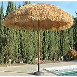 NEW 8' Wide Hawaiian Tiki Design Beach Umbrella w Fiberglass Rib & Aluminum Pole