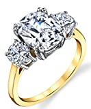 Metal Masters Co. Sterling Silver 925 Meghan Markle 14K Gold Plated Cushion Cubic Zirconia Wedding Engagement Ring 5