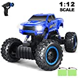 AOKESI RC Cars 1:12 Remote Control Monster Truck 4WD Dual Motors Rechargeable Off Road Rock Crawler Vehicle RC Hobby Truck Gifts for Kids/Teens/Adults- Blue