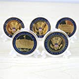 5 Pack Donald Trump Gold Plated Coin, Seal of The President Challenge Coin, Commemorative Gift with Case and Stand