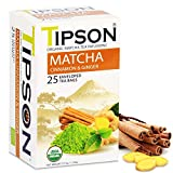 Tipson Organic Matcha Green Tea - Organic Cinnamon And Organic Ginger - 25 Foil Enveloped Double Chambered Bags - Antioxidant Benefits - Energy Supplement - Keto/Paleo