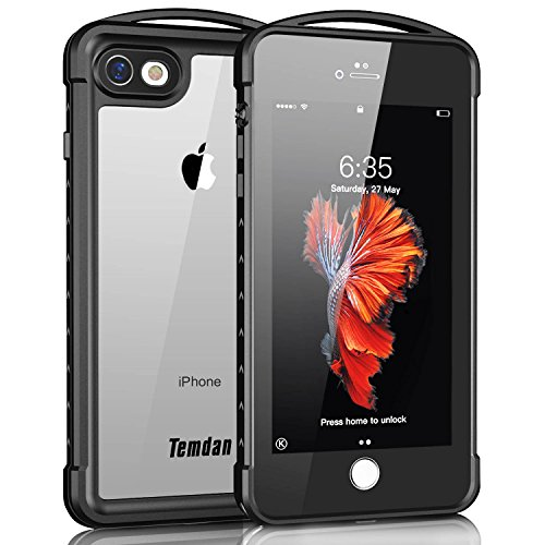 iPhone 7/8 Waterproof Case, Temdan Supreme Series Waterproof Case with Carabiner Built in Screen Protector Outdoor Rugged Shockproof Clear Case for iPhone 7 and iPhone 8 (4.7 inch)