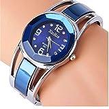 ELEOPTION Women's Bangle Watch Bracelet Design Quartz Watch with Rhinestone Round Dial Stainless Steel Band Wrist Watches Free Women's Watch Box (XINHUA-Jewelry Blue)