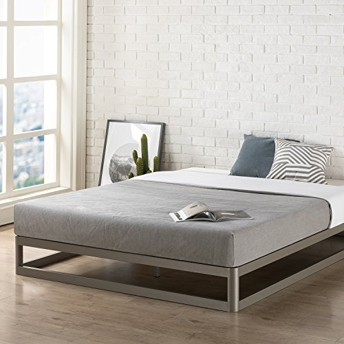 Mellow Queen 9' Metal Platform Bed Frame w/Heavy Duty Steel Slat Mattress Foundation (No Box Spring Needed), Grey