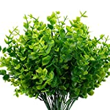 The Bloom Times Artificial Boxwood (Pack of 6), Boxwood Greenery Stems Artificial Outdoor Plants UV Resistant Fake Plants Foliage Farmhouse Greenery for Home Garden Wedding Patio Indoor Decor