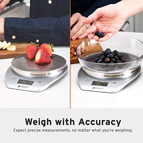 Etekcity Food Scale with Bowl, Digital Kitchen Weight Grams and Ounces for Cooking and Baking, 1g Increment, Large LCD Display, Silver/Stainless Steel 5