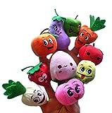 New Design 10pcs Velvet Finger Fruit and Veggie Puppet Play Learn Story Toy Cute Cartoon Finger Puppets for Baby