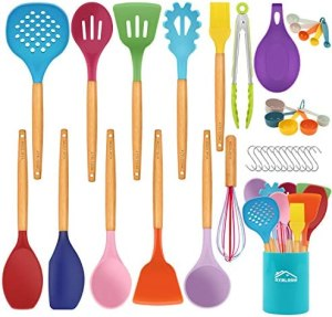 Aybloom 25 PCS Silicone Kitchen Cooking Utensil Set, Wooden Handles BPA Free Heat Resistant Silicone Kitchen Cooking Tool for Nonstick Cookware(Colorful 25pcs)