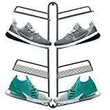 mDesign Modern Metal Shoe Organizer Display & Storage Shelf Rack - Hang & Store Your Collection of Kicks, Running, Basketball, Trainers, Tennis Shoes, 4 Tier, Holds 8 Shoes, Wall Mount - Graphite Gray