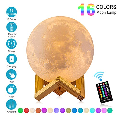 Moon Lamp with Time Setting and Stand 3D Print LED 16 Colors Hung Up Decorative Luna Lights for Birthday Party Kids Christmas Gifts, Graduation July 4th Decorations(5.9 inch)