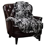 Chanasya Faux Fur Throw Blanket | Super Soft Fuzzy Light Weight Luxurious Cozy Warm Fluffy Plush Hypoallergenic Blanket for Bed Couch Chair Fall Winter Spring Living Room (60' x 70') - Dark Grey