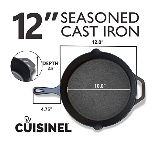 cuisinel-Pre-Seasoned-Cast-Iron-Skillet-2-Piece-Set-8-Inch-and-12-Inch-Oven-Safe-Cookware-2-Heat-Resistant-Holders-Indoor-and-Outdoor-Use-Grill-Stovetop-Induction-Safe