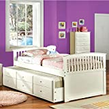 Furniture of America Annetta White Mission Style Captain Bed with Storage Trundle Full