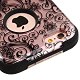Kaleidio Case Compatible For Apple iPhone 6 Plus / 6S Plus (5.5') [TUFF] Armor Dual Layer Hybrid Case [Includes a Overbrawn Prying Tool, Stylux Stylus/Pen Dust Plug Combo] [Rose Gold Clover Flowers]