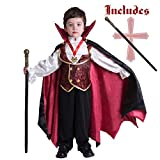 Gothic Vampire Costume Deluxe Set for Boys, Kids Halloween Party Favors, Dress Up,Role Play and Cosplay (Small) Red