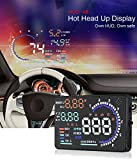 YICOTA 5.5' Original High Definition Car HUD Head-Up Display Advanced Windshield LED Projector Fit for OBD II EOBD System Model Cars (A8)