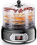 Elechomes Food Dehydrator Machine, 6 Trays Fruit Vegetable Nuts Dryer, Digital Thermostat Preset Food Preserver, Meat or Beef Jerky Maker, with Time and Temperature Control, BPA Free