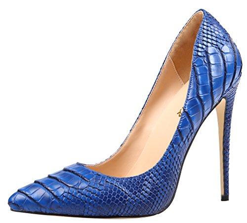 AOOAR Women's High Heel Snakeskin-Print Blue PU Party Pumps 13 M US