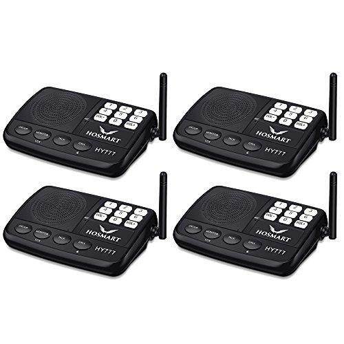 Wireless Intercom System Hosmart 1/2 Mile Long Range 7-Channel Security Wireless Intercom System for Home or Office (2018 New Version) [4 Stations Black]