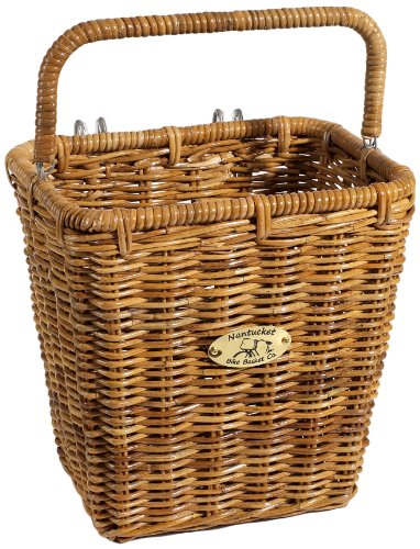 Nantucket Bicycle Basket Co. Cisco Pannier Basket with Hooks, Honey
