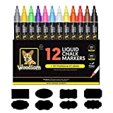 Chalk Markers by Woodsam - 12 Pack Liquid Neon Pens - 20 Chalkboard, Glass, Window Labels & 2 Extra Reversible Bullet and Chisel Fine Tips Included - Erasable Color Paint