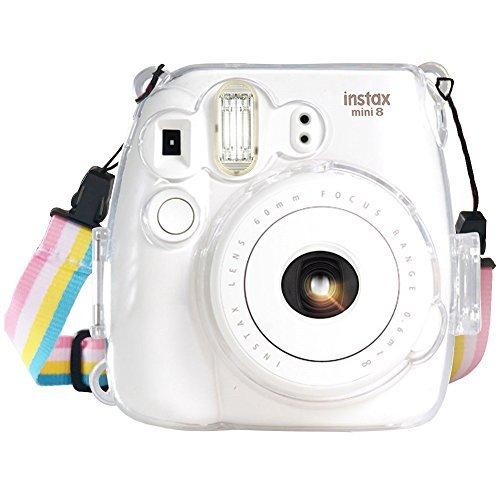 Wolven Fujifilm Instax Mini 8, 8+, 9 Crystal Case Crystal Camera Case w Adjustable Rainbow Shoulder Strap Compatible Fujifilm Instax Mini 8,Mini 8+,Mini 9 Camera