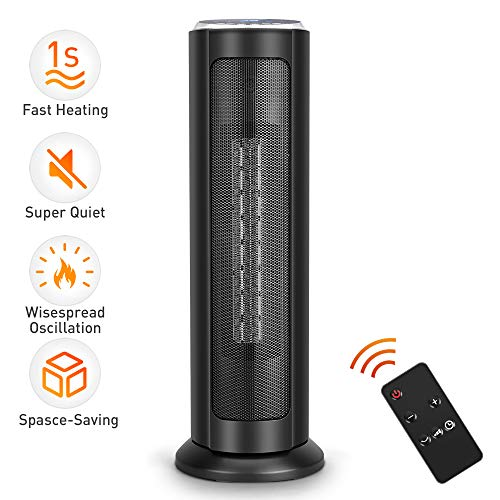TRUSTECH Portable Ceramic Tower Heater Oscillating Digital Display w/Remote, Overheating & Tip-Over Protection Adjustable Thermostat, 1500W, 8H Timer, ETL Safety Home Office Use, 22-inch, Black