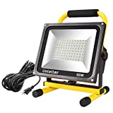 Ustellar 5500LM 55W LED Work Light (400W Equivalent), 2 Brightness Levels, Waterproof Flood Lights, 16ft/5M Cord with Plug, Stand Working Lights for Workshop, Construction Site, 6000K Daylight White