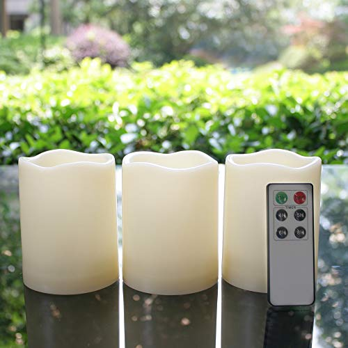 Outdoor Waterproof Flameless LED Pillar Candles with Remote and Timer Battery Operated Plastic Flickering Decorative Candle Lights for Halloween Christmas Wedding Party Event Décor Supplies 3-Pack