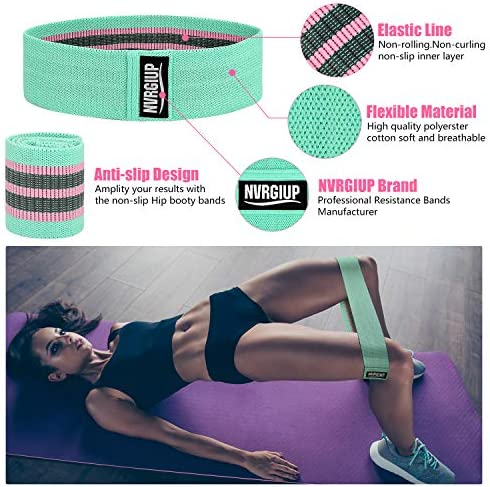 NVRGIUP Exercise Resistance Bands for Legs and Butt, Upgrade Thicken Anti-Slip & Roll Home Gym Workout Booty Bands, Wide Fabric Loop Thigh Glute Bands Set for Women with Ebook & Video 5