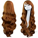 Rbenxia Curly Cosplay Wig Long Hair Heat Resistant Spiral Costume Wigs Anime Fashion Wavy Curly Cosplay Daily Party Brown 32' 80cm