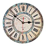 14 Inch Vintage Rustic Country Tuscan Style Silent Wooden Wall Clock Home Decor - White