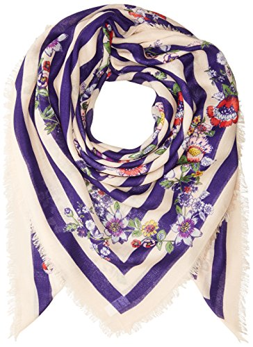 517LQ9EO%2B0L VERY CHIC MEETS VERY SOFT: The Square Scarf measures 52 inches high and 52 inches wide - the casual chic personality of this scarf features fringe trim and playful patterns on both sides to add a charming finish to your look PERFECTLEY WEIGHTED KNIT: Whether you're avoiding the summer evening chill or adding that instant pop to a wintry weather outfit -  our lightweight polyester twill keeps you stylish and warm without the weight of a bulky scarf VERTASILE LOOKS: Multiply your wardrobe by simply adding a scarf to create new looks - wrap stylishly around your neck or drape over your shoulders - you'll love this stylish companion for chilly days and crisp nights