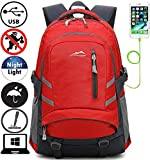 Backpack Bookbag For School College Student Travel Business With USB Charging Port Fit Laptop Up to 15.6 Inch Anti theft Night Light Reflective (Red Color)