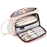 EASTHILL Big Capacity Colored Canvas Storage Pouch Marker Pen Pencil Case Stationery Bag Holder for Middle High School Office College Student Girl Women Adult Teen Christmas Gift White Plaid
